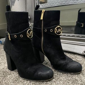 MICHAEL KORS Black Suede Boots with Gold Buckle